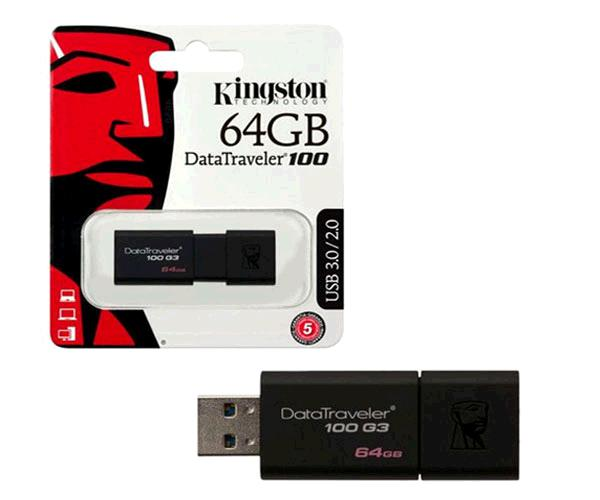 Pendrive Kingston dT100 g3 64Gb USB 3.1 - 3.0 negro