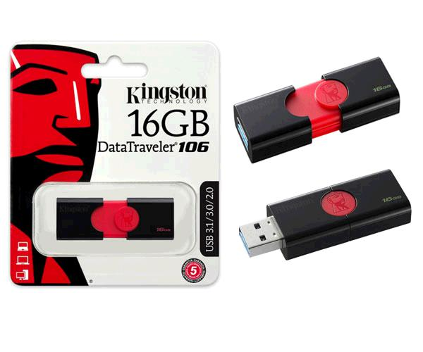Pendrive Kingston dT106 16Gb USB 3.0 - 3.1 gen 1 -  negro - rojo