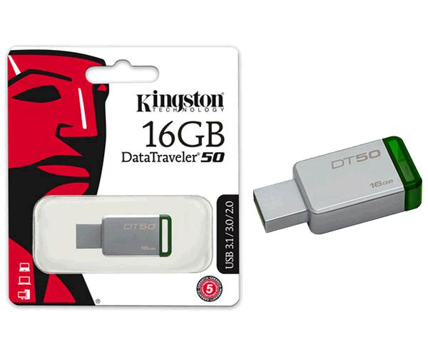 PENDRIVE KINGSTON DT50 16GB USB 3.1 - 3.0 METALICO VERDE