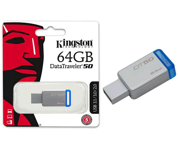 Pendrive Kingston DT50 64Gb USB 3.1 - 3.0 metalico azul  110mb-s