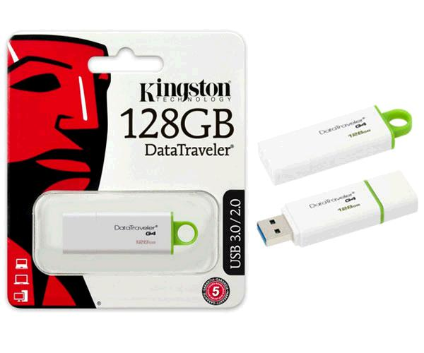 Pendrive Kingston dti g4 128Gb USB 3.0 blanco - Verde