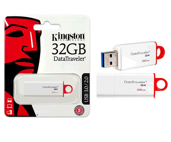 Pendrive Kingston dti g4 32Gb USB 3.0 blanco - rojo