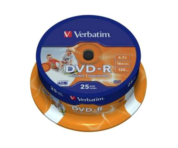 DVD-R VERBATIM TARRINA 25 UNIDADES PRINTABLES
