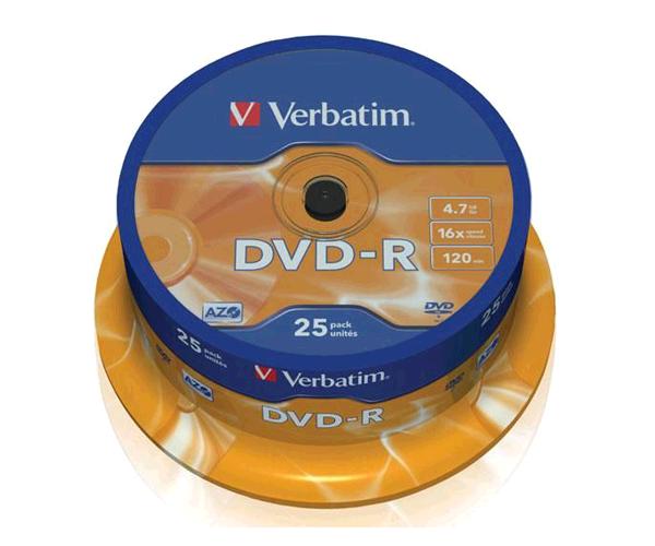 DVD-R VERBATIM 16X TARRINA 25 UDS