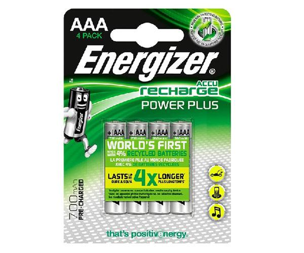 Pilas recargables Energizer Power Plus Hr03 AAA 700 mah Pack 4 uds