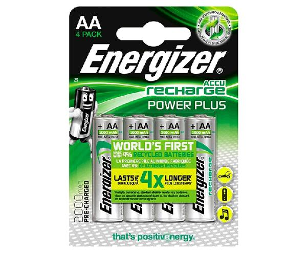 Pilas recargables Energizer Power Plus Hr06 AA 2000 mah Pack 4 uds