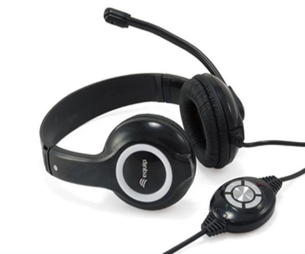 Auriculares Equip Life - Usb - Microfono Flexible - Control de volumen - Negro - Eq245301