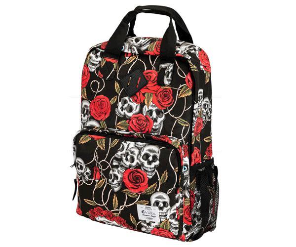 Mochila E-Vitta Style Backpack Skulls 15.4 a 16 pulgadas Azul - asas + correa hombro - 2 compartimentos - 2 bolsillos