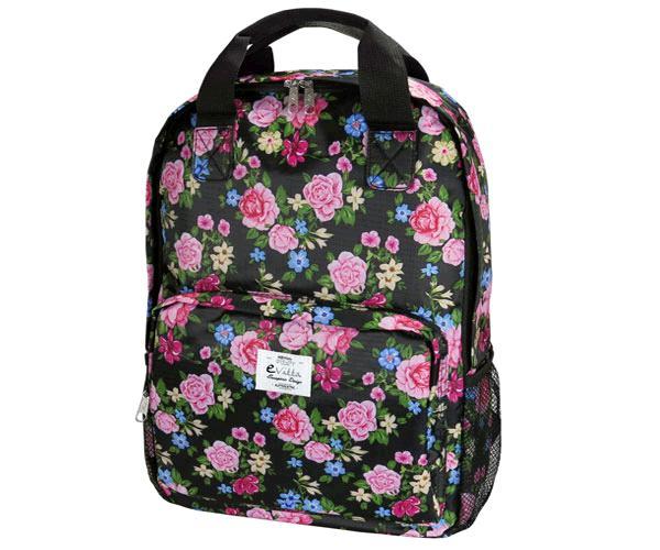 Mochila E-Vitta Style Roses 15.4 a 16 pulgadas - asas + correa hombro - 2 compartimentos - 2 bolsillos