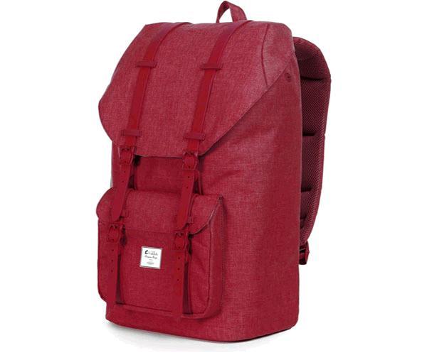 Mochila E-Vitta Tourister Dark Red 15.4 a 16 pulgadas - panel trasero acolchado - cierre superior con cincha