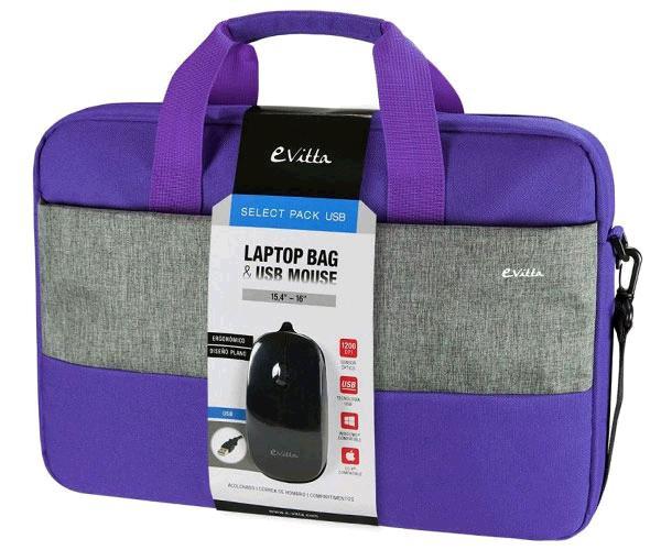 Maletin portatil morado e-vitta select 15.4 a 16 pulg. + raton negro