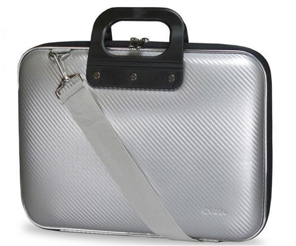Maletin Rigido portatil Eva Pu Fibra de carbono - Plata - e-vitta  - 13.3