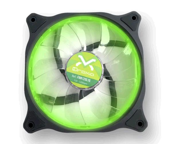 Ventilador Droxio gaming 12x12cm - 15 Leds Verde - Silencioso - 120mm