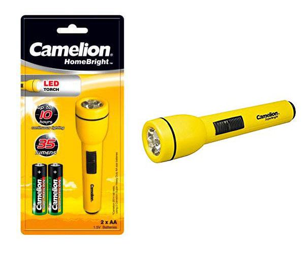LINTERNA LED HOMEBRIGHT + 2 PILAS AA  - AMARILLO - CAMELION