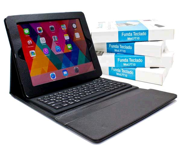 FUNDA TABLET CON TECLADO IPAD 1-2-3-4 BLUETOOTH NEGRA