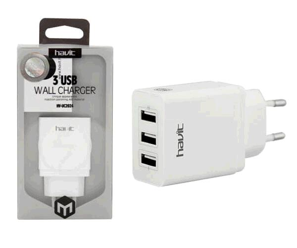 CARGADOR STOOL HAVIT 3 TOMAS USB 3.1A MAX. NEGRO HV-UC2024