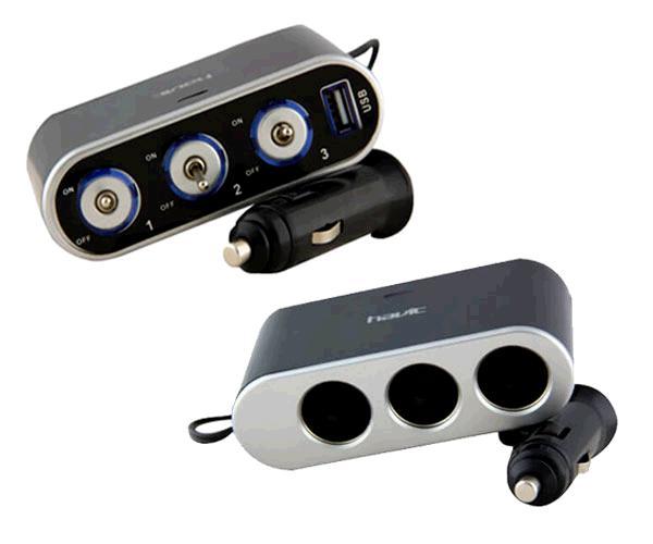 Cargador mechero triple switch + USB Havit hv-uc2035