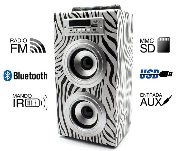 ALTAVOZ MADERA BLUETOOTH JOYBOX ZEBRA MOD.4 - SD- USB - AUX IN - FM - MANDO A DISTANCIA