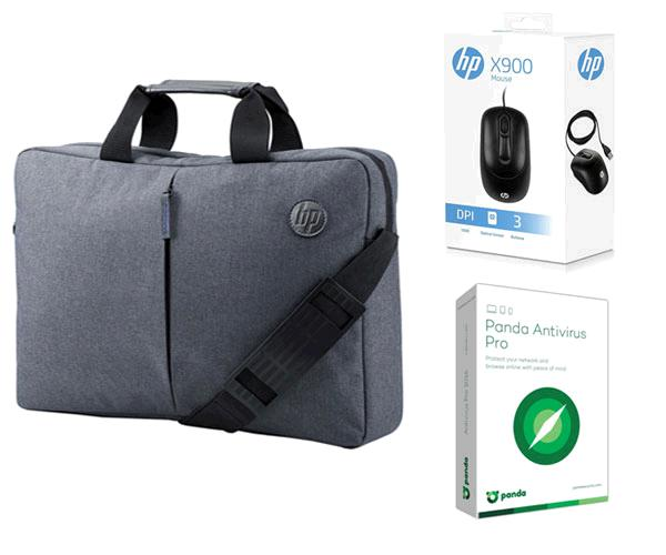 Pack Maletin portatil Hp essential top load gris 15.6 + Raton Hp X900 Usb Negro + Panda Antivirus Pro 1 licencia - 1 año