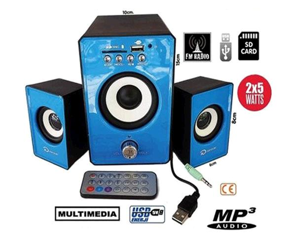 Altavoz kp3000 2.1 Mp3 Usb - MicroSD - FM  Azul