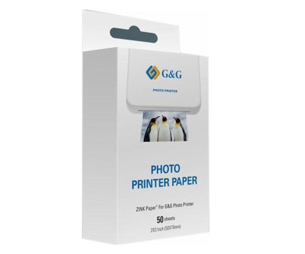 Papel Fotográfico para Impresora de bolsillo G&G - 10 uds - 50mm x 76mm - GG-Zp023-50