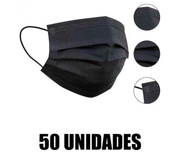 Mascarillas quirúrgicas CE proteccion caja 50 unidades negras 5 bolsas de 10 unidades