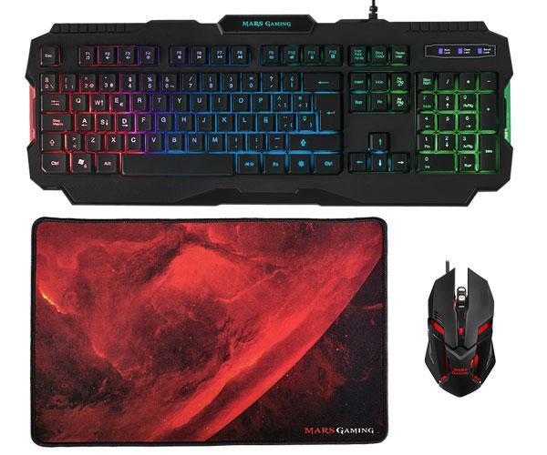 Combo Mars Gaming Rgb mcp118 teclado + raton + alfombrilla - 4000dpi - anti-ghosting