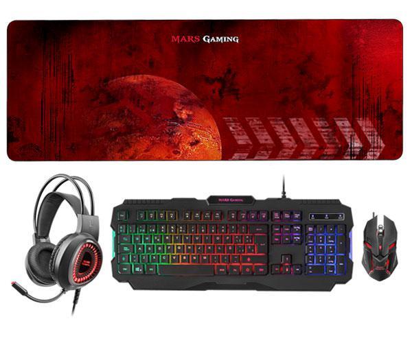Combo Mars Gaming Mcprgb2 (Teclado Rgb + Raton Rgb Flow + Alfombrilla XXL + Headset Rgb 50mm) dpi - Micro flexible - Anti-Ghosting