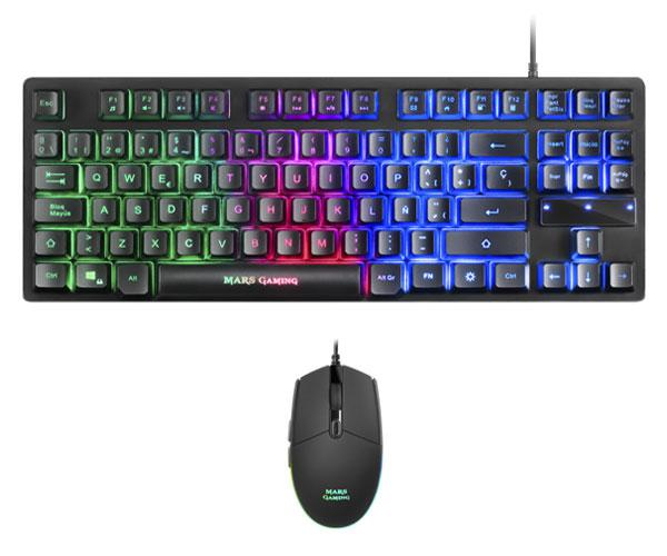 Combo Teclado + Raton Mars Gaming - Usb - Teclado reducido TKL Rgb - 3200 Dpi - Ps4 - Xbox One - Nintendo Switch