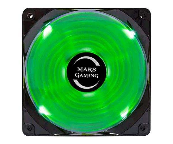 Ventilador Mars Gaming Led Verde 12x12cm - Bajo Ruido - 14db - 1200 Rpm - Fluxus Bearing