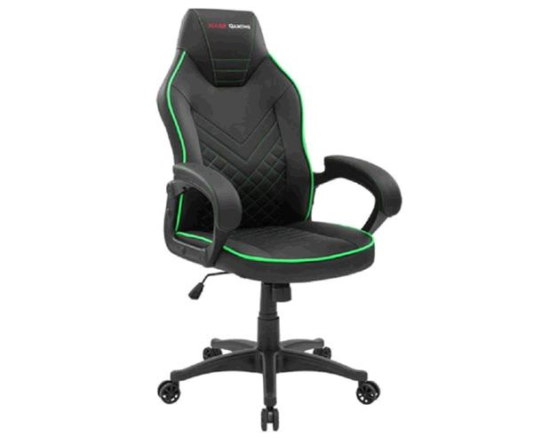 Silla Mars Gaming Mgcx One - Negra - Linea verde - Transpirable Air-Tech Pro - Piston Clase 4 - Ruedas XL 65mm