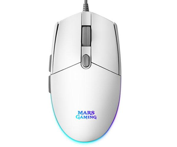 Raton Mars Gaming Mmg Blanco - USB - 3200 dpi - 6 botones - Iluminacion Rgb Flow - Switches Huano