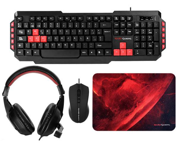 Combo Mars Gaming Mrcp1 (Teclado + Raton + Alfombrilla + Headset 40mm) 2800dpi - Micro plegable - Anti-Ghosting