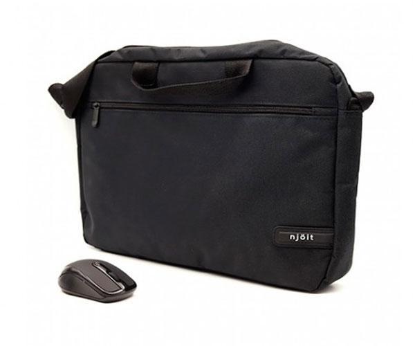 Maletin portatil Njoit 15.6 pulg. Negro + Raton inalambrico Negro