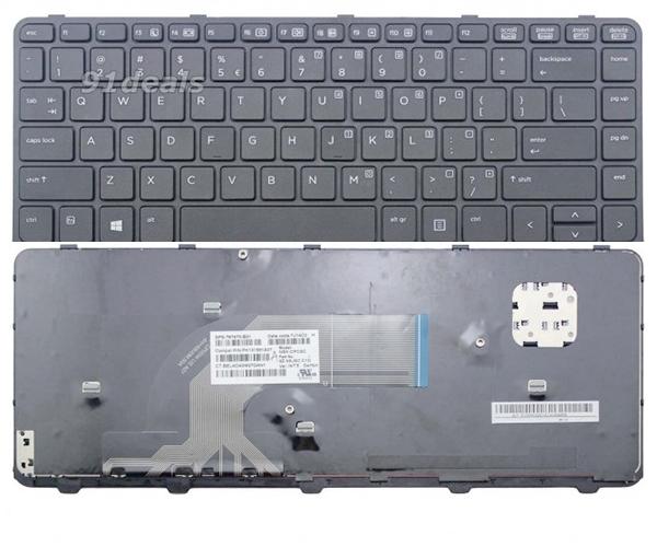 Teclado Ocasión Hp Probook 430 g2 - 440 g1 - 445 g1 - 640 g1 - negro con marco alemán + pegatina castellano grado B