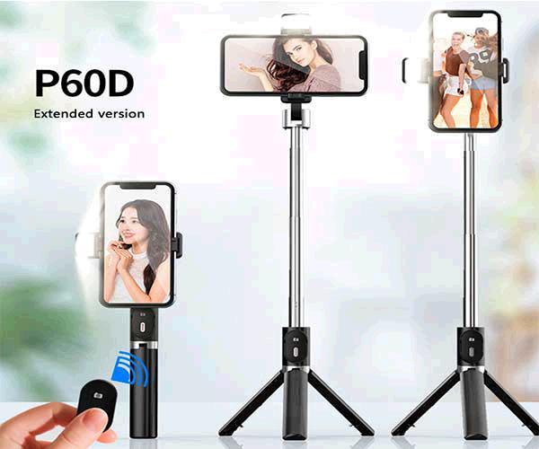Palo para selfie con tripode, luz, remote control 10 metros color negro p60d