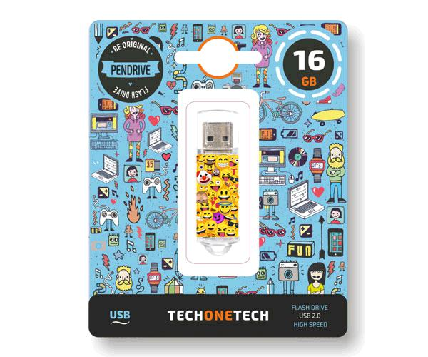 Pendrive animado emojitech  emojis USB 2.0 16Gb