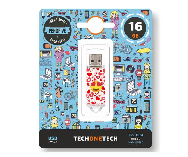 Pendrive animado emojitech heart-eyes USB 2.0 16Gb