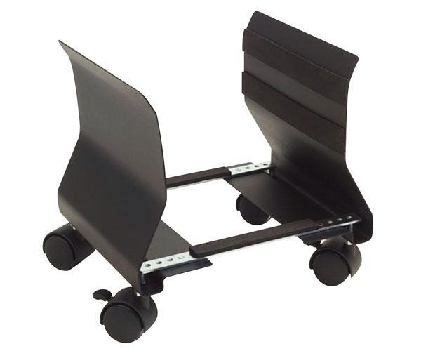 Soporte cpu con ruedas adaptable phoenix - Acero - muy resistente - negro