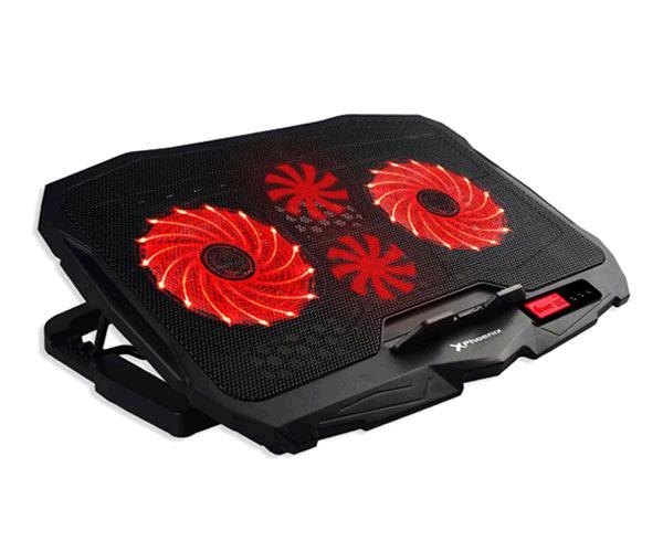 Base refrigeradora Gaming Phoenix Phfactorcooler - hasta 17.4 Pulg. - 2xUSB - 4 Ventiladores - Adaptable en altura