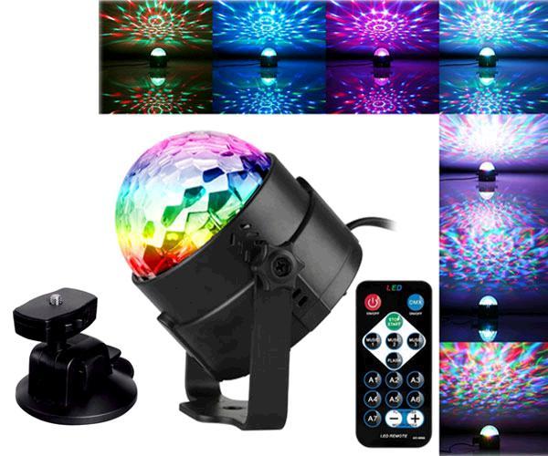 Bola discoteca LED rGb con mando a distancia + soporte ventosa