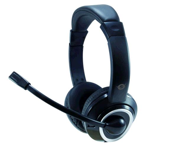 Auriculares con Microfono Conceptronic Polona 02ba - estereo - Adaptador de audio y microfono - VoIp - negro
