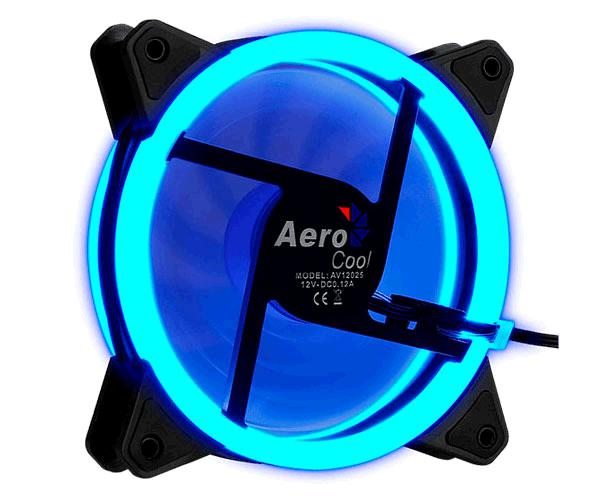 VENTILADOR AEROCOOL REV BLUE 120MM X 120MM - ULTRASILENCIOSO - DOBLE ANILLO LED AZUL - ANTIVIBRACION