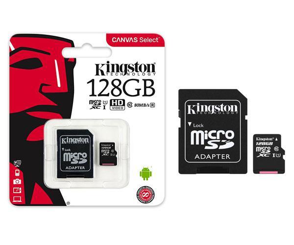 Micro sd xc Kingston uhs-i 128Gb canvas select 80mb-s clase 10  con adaptador