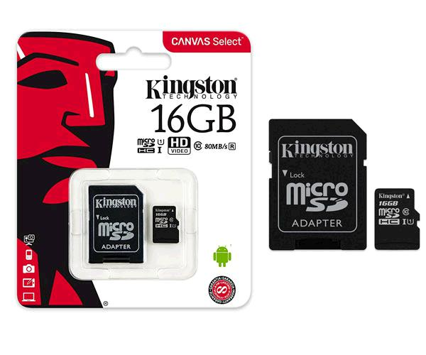 Micro sd hc Kingston uhs-i 16Gb canvas select 80mb-s clase 10  con adaptador && INFORMATICA