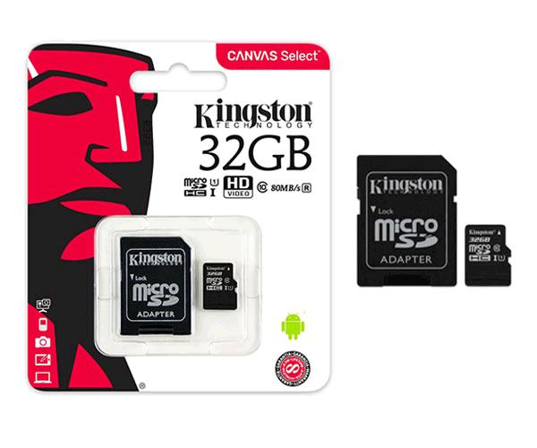 Micro sd hc Kingston uhs-i 32Gb canvas select 80mb-s clase 10  con adaptador && INFORMATICA