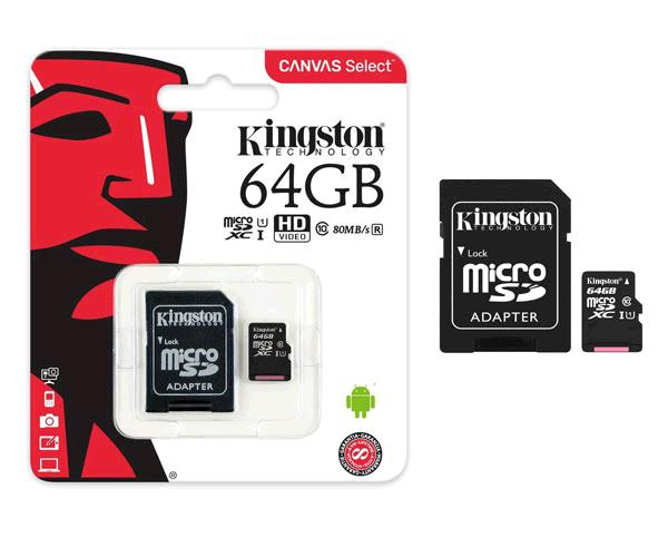 Micro sd xc Kingston uhs-i 64Gb canvas select 80mb-s clase 10  con adaptador