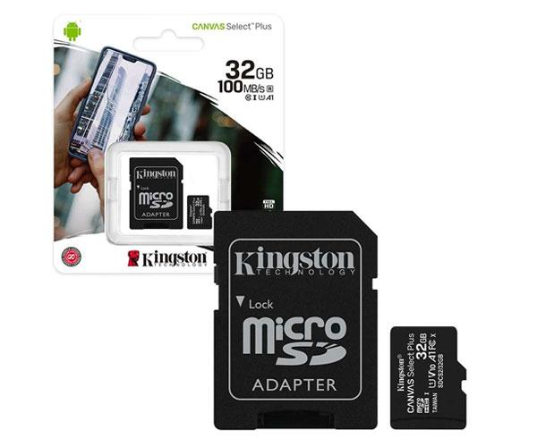 Micro sd hc Kingston uhs-i 32Gb Canvas Select Plus 100mb-s clase 10  con adaptador