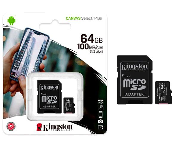 Micro sd hc Kingston uhs-i 64Gb Canvas Select Plus 100mb-s clase 10  con adaptador