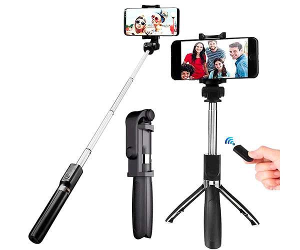 Palo para selfie con tripode, remote control 10 metros, color negro L01